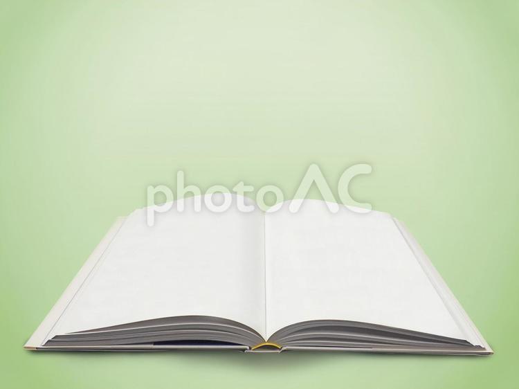 背景【見開きの本】グリーンの写真