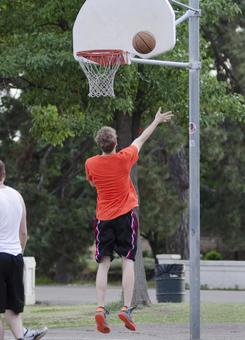 Landscape playing basketball