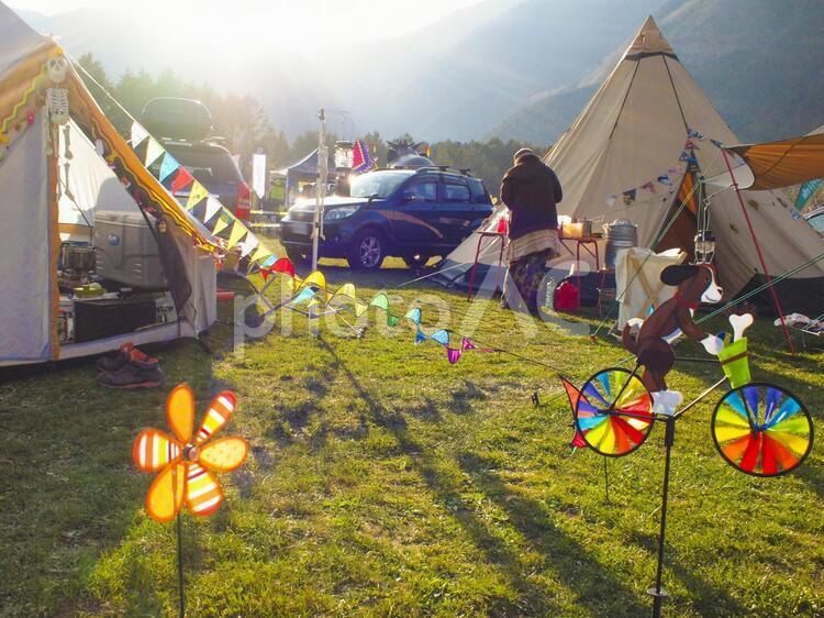 富士山の裾野でキャンプの写真
