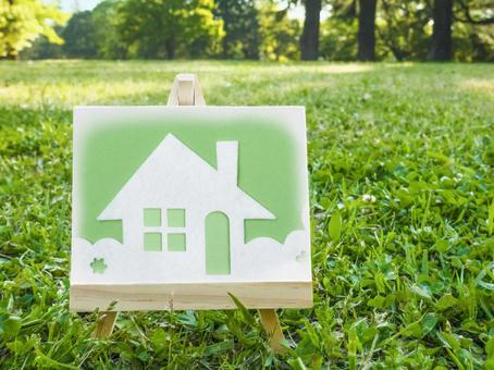 Image of a house Canvas and lawn square