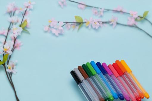벚꽃과 컬러 펜