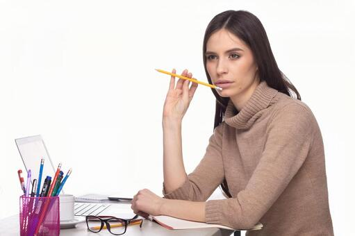 Woman with writing instrument 6