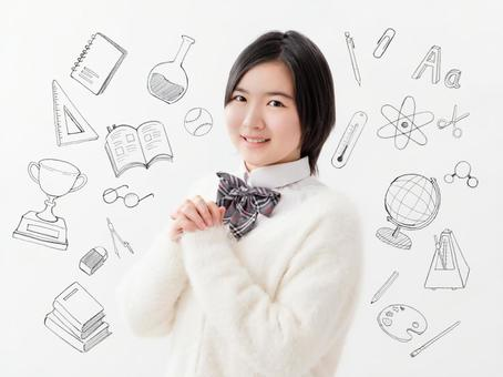 Image of smiling high school girl Study sketch
