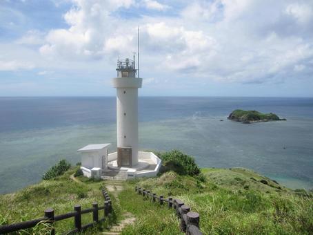 Hirakubozaki Lighthouse and the sea at the northernmost tip of Ishigaki Island