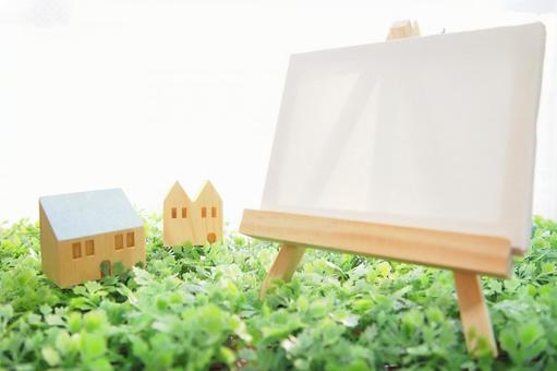 Easel and miniature house 2