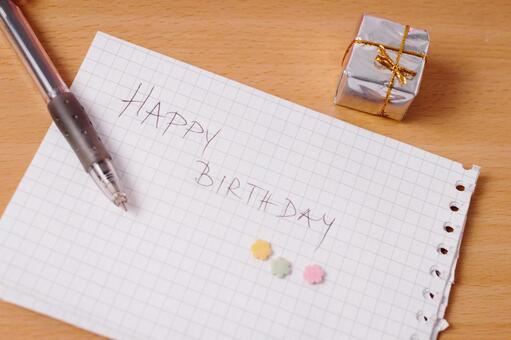 Handwritten birthday card and present