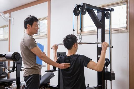 Men receiving personal training