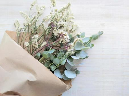 Bouquet background frame of statice and eucalyptus