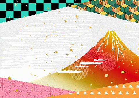 Japanese paper texture background material of Mt. Fuji and New Year's card Japanese pattern