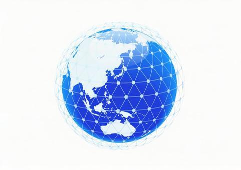 파란색 디지털 네트워크 지구 이미지