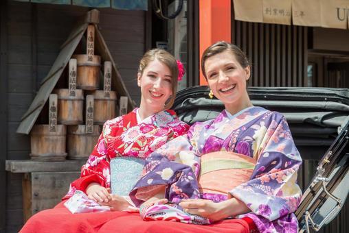 Women's Yukata rode rickshaw women Foreign tourists 9
