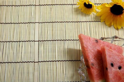 Watermelon Watermelon Sunflower Bamboo Background