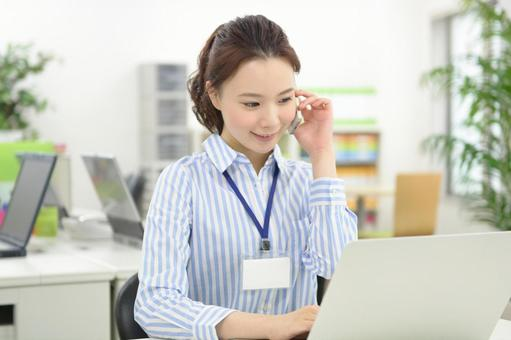 Calling with a smartphone Career Woman 1