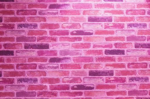 분홍색 혼색 벽돌 벽 배경 소재