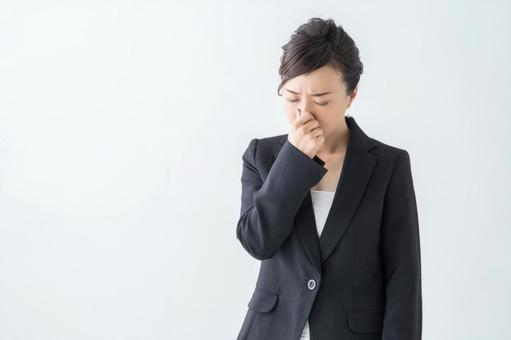 [Cut PSD] Woman holding her nose