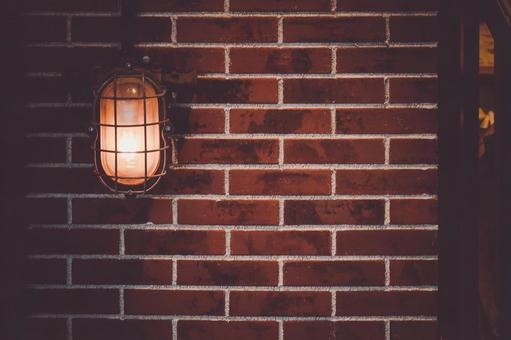 Brick wall and street light (background material)