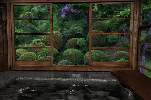 A tasteful open-air bath