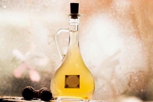 Bottle and walnut