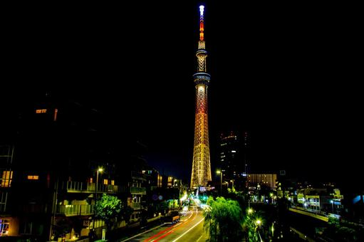 Tokyo Sky Tree where the message of TOKYO2020+1 was issued