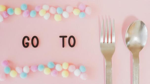 GO TO EAT 06 이미지 소재 (핑크 무늬 배경)