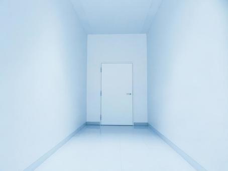 White wall floor ceiling door