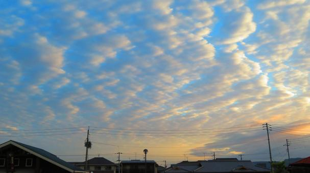 Sunrise sky in early April