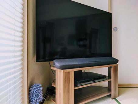TV와 사운드 바 및 DVD 플레이어 세트