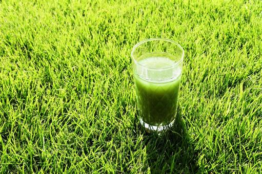 Green juice on the lawn