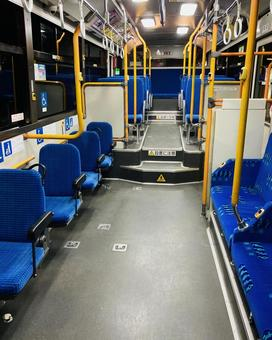 Inside an unmanned bus