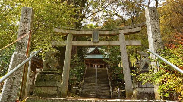 In front of Usuyama Hachiman Shrine Torii
