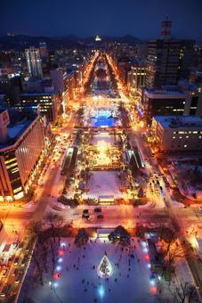 New Three Major Night Views of Japan Sapporo Night View Superb view of light Sapporo Blue