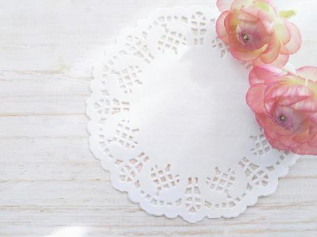 Soft light and flowers and lace paper background