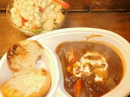Camping rice beef stew