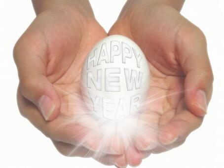 happy new year Hands and eggs