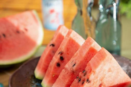 Cut watermelon and chilled ramune