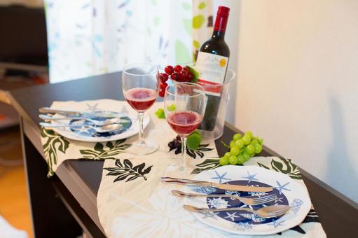 Interior with wine