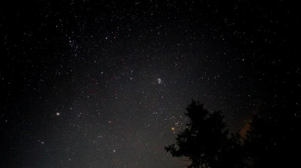 Starry sky over the campsite