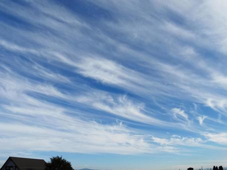 Autumn sky and cirrus clouds