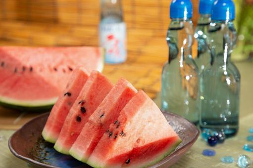 Summer image Cut watermelon and chilled ramune