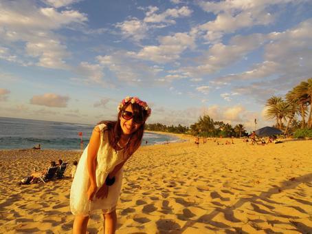 해변과 여성