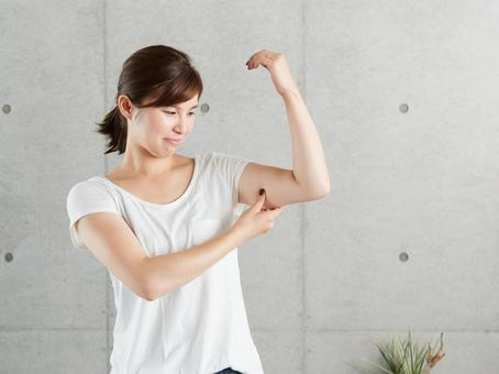 Japanese woman worried about sagging upper arm