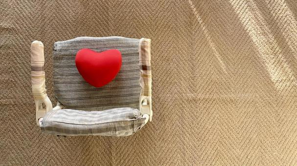 Heart on the nursing chair _ overhead view