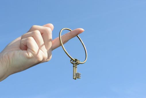 Blue sky and key