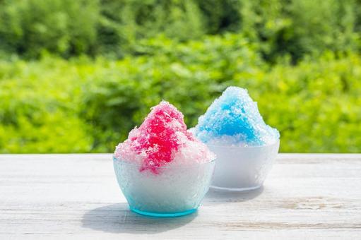 刨冰草莓藍色夏威夷夏天形象