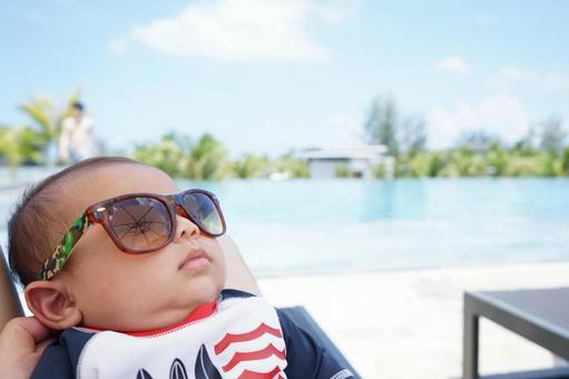 Baby and pool