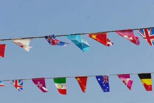 Blue sky and universal flag 3
