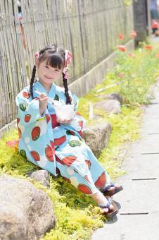 Girl wearing a yukata