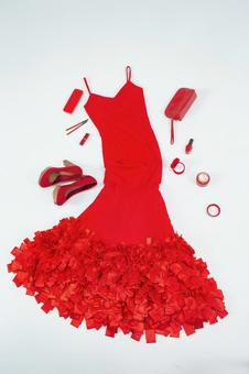 Red dress and accessories 2