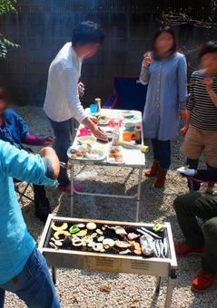 Scenery of the garden BBQ