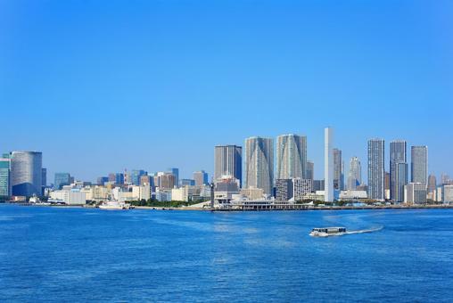 도쿄의 빌딩 걸프의 거리 풍경